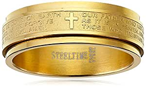 Men's Stainless Steel 18 K Gold Plated Father of Lord Spinner Ring, Size 12