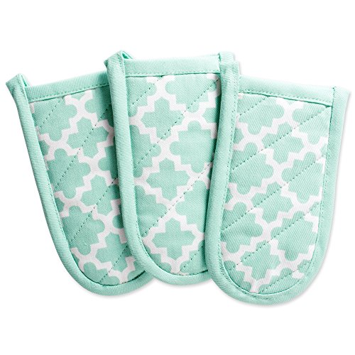 DII Cotton Lattice Pan Handle Holders, 6 x 3 Set of 3, Machine Washable and Heat Resistant Pan Handle Sleeve for Kitchen Cooking & Baking-Aqua