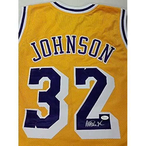 305152df815 well-wreapped MAGIC JOHNSON Signed Lakers Gold Jersey Size Lrg NBA Lakers  HOF er