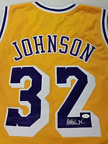 Signed Authentic Lakers Gold Jersey (MAGIC JOHNSON Signed Lakers Gold Jersey Size Lrg NBA Lakers HOF'er JSA COA)