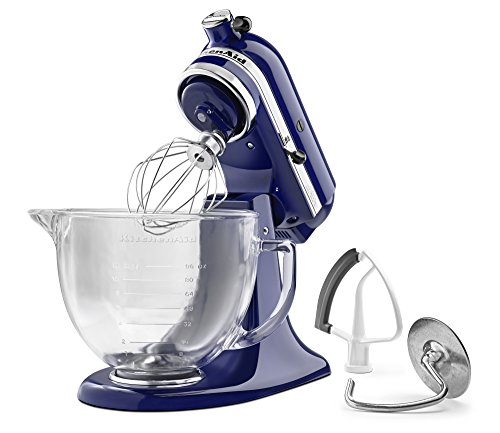 KitchenAid KSM105GBCBU 5-Qt. Tilt-Head Stand Mixer with Glass Bowl and Flex Edge Beater - Cobalt Blue