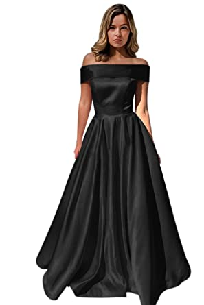 Harsuccting Off The Shoulder Long A-Line Satin Evening Prom Dress With Pockets Black 2