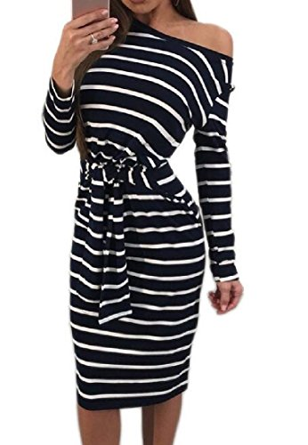 Dresses Women Dress Oblique Pencil Longline Striped Straps white Black Coolred HC0qvv