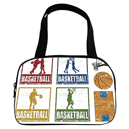 (Personalized Customization Small Handbag Pink,Sports Decor,Collection of Vintage Rubber Stamp Print Style Illustration with Basketball Players,Navy Green Red,for Girls,Personalized Design.6.3