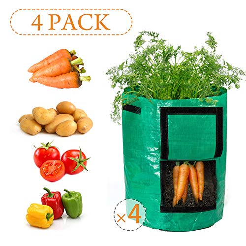 (Todoing Garden Potato Grow Bag, 4Pack10Gallon Grow Bags with Access Flap and Handles for Harvesting Potato, Carrot, Onion, tomata,Vegetable and Flower.)