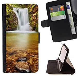 DEVIL CASE - FOR HTC One M9 - Wateerfall Nature - Style PU Leather Case Wallet Flip Stand Flap Closure Cover