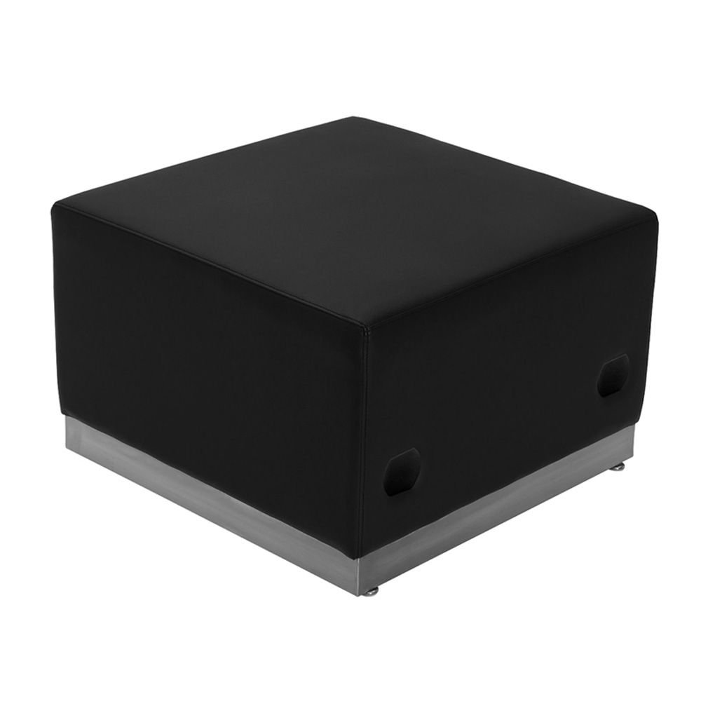Alon Series Bonded Leather Modular Reception Ottoman Dimensions: 25.50''W x 25.25''D x 16''H Black Bonded Leather/Brushed Stainless Steel Base