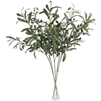 SODIAL 5 Pcs 28 inch Green Olive Artificial Plants Branches Fruits Flowers Branch Leaves for Home Office Crafts…