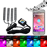 HuDieM Car Interior Lights Atmosphere Floor Interior Underdash Lighting Kit RGB Music Control Car LED Strip Lights with Sound Active Function Multicolor APP Bluetooth Controller for iPhone Android