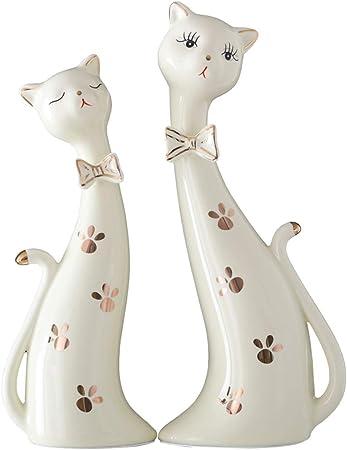 Xyanzi Estatuas Estatuas Cerámica Escultura Art Crafts Par Lindo del Gato Figurita Creativo Decoración Decoración Amantes del Gato: Amazon.es: Hogar