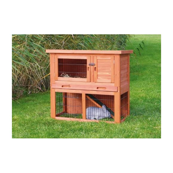 TRIXIE Pet Products Rabbit Hutch with Sloped Roof, Small, Glazed Pine