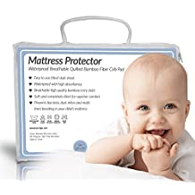 Quilted BAMBOO Waterproof Crib Mattress Protector by Bow-Tiger - Prevent Moisture & Bedbugs from Endangering Your Baby in Bed! Completely Silent & Extra Cozy Pad, Keep Your Baby Dry and Safe!