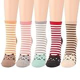 WOWFOOT Animal Zoo Casual Cute Fun Cotton Print Ankle Socks Design (Stripes-5 pairs)