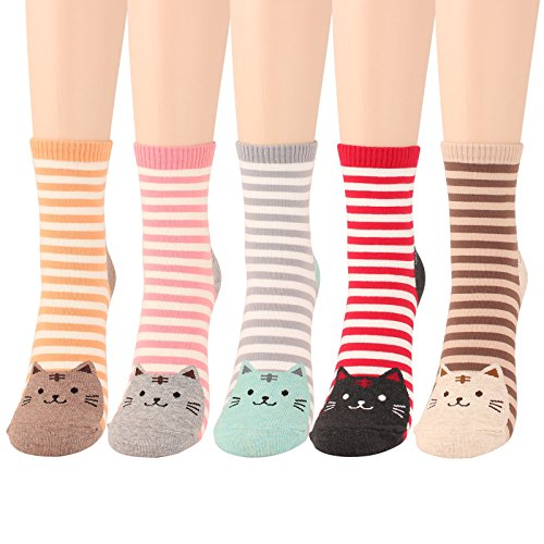WOWFOOT Animal Zoo Casual Cute Fun Cotton Print Ankle Socks Design (Stripes-5 pairs) Animal Print Toe Socks