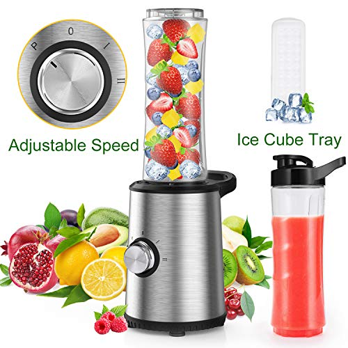 Personal Blender, Slaouwo Adjustable Speed Blender with 300W Base, 4 Stainless Blades, 20 Oz BPA-Free Portable Sports Blender Cup for Juice, Smoothies, Shakes and More