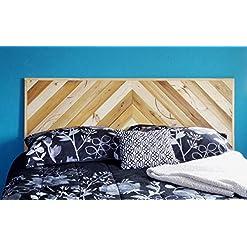 Bedroom Modern Farmhouse Queen Sized Wall Mounted Headboard, Rustic Reclaimed Wooden Slat Hanging Chevron Herringbone Bedroom… farmhouse headboards