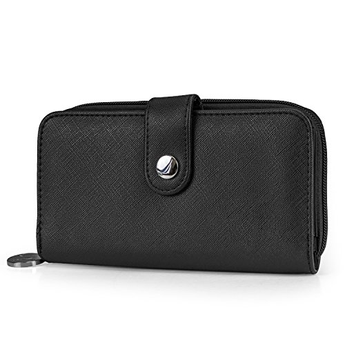 Nautica Be Shore Womens Wallet RFID Blocking Zip Around Clutch (Black) -