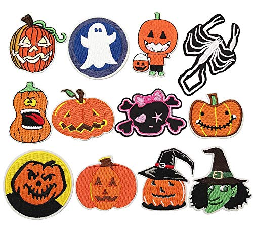 Dandan DIY 12pcs Halloween Pumpkin Skeleton Kid Embroidered Patch Sew On/Iron On Patch Applique Clothes Dress Plant Hat Jeans Sewing Flowers Applique DIY Accessory (Halloween-Styles)