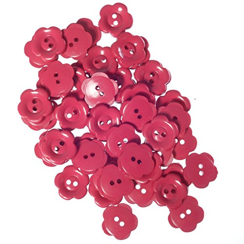 Nylon Daisy Shape Buttons - 2 Hole - Fucshia