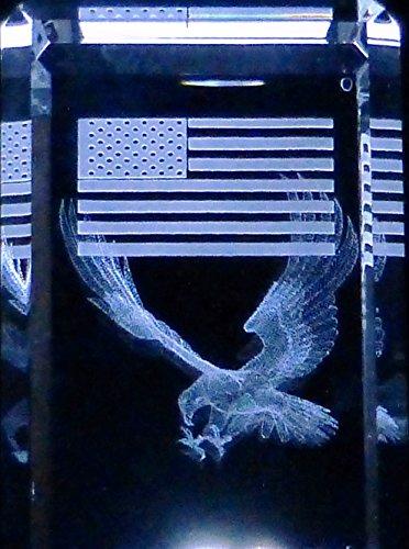 (3D Laser Etch Glass Crystal Eagle U S Flag 2 1/4 Inch x 1 1/2 Inch x 1 1/2 Inch & Gift Box )