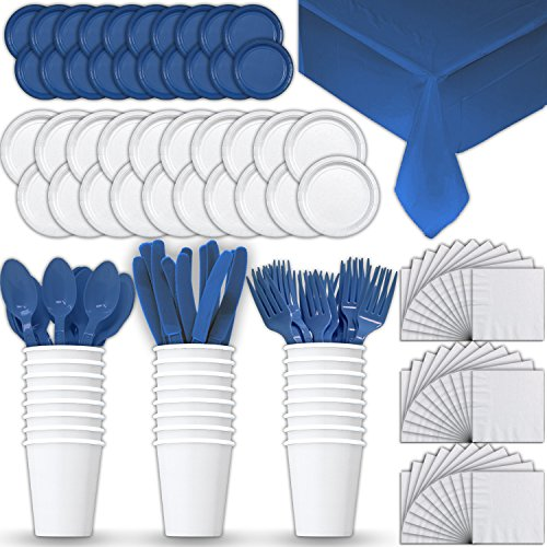 Paper Tableware Set for 24 - White & Blue - Dinner and Dessert Plates, Cups, Napkins, Cutlery (Spoons, Forks, Knives), and Tablecloths - Full Two-Tone Party Supplies Pack