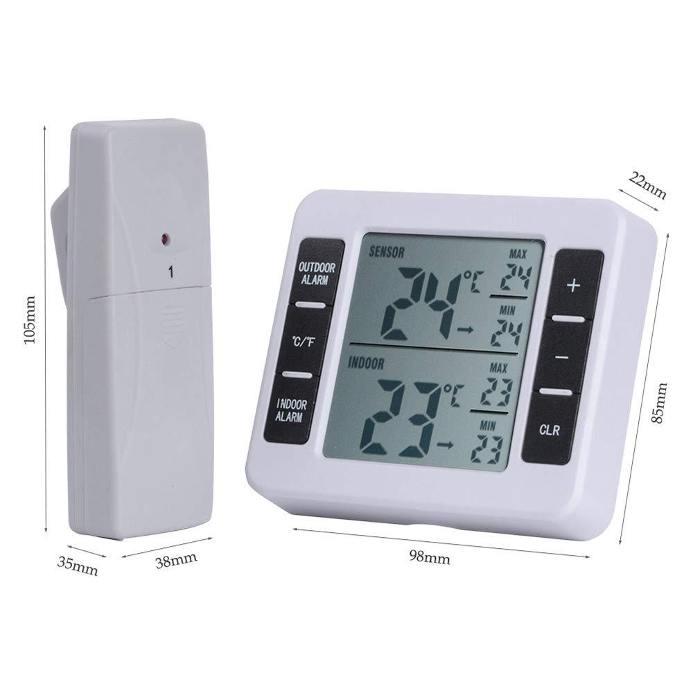 Termómetro para nevera con alarma audible, termómetro digital para congelador con monitor de temperatura interior y 2 sensores inalámbricos, registro ...