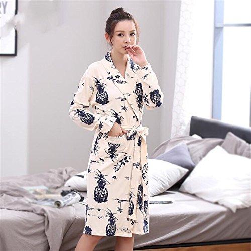 Accappatoio Beige in e maniche notte SUxian camicia Dimensione lunghe Colore XL con Accappatoio da cotone Beige 5XwSqpZ