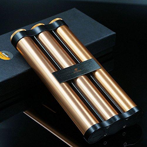 Tube Lined Rose (Rose Gold TitaniumCigar 3 Tube Cigar Humidor Holder NEW in Gift Box)