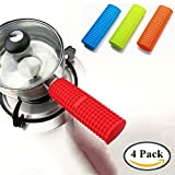 Shuxy Silicone Hot Handle Holder Kitchen Heat Resistant Fry Pan Milk Pot Sleeve Grip Handle Cover Potholder for Cast Iron Skillets Griddles Metal & Aluminum Cookware – Set of 4 Colors