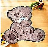Sunny DIY Crochet Yarn Kits, 18.89''X14.56'', Needlework Kit DIY Crocheting Rug Yarn Cushion Embroidery Set , Tatty Teddy