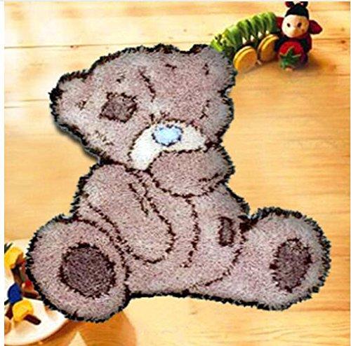 Sunny DIY Crochet Yarn Kits, 18.89''X14.56'', Needlework Kit DIY Crocheting Rug Yarn Cushion Embroidery Set , Tatty Teddy by Sunny
