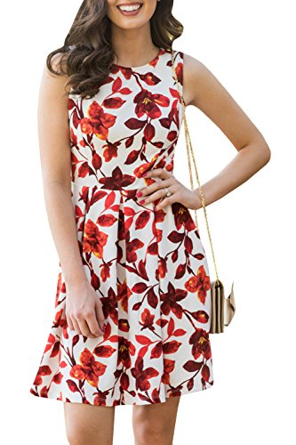 Floral Empire Mini - Chuanqi Womens Sleeveless Floral Dresses Work Casual Empire Waist Slim Fit Party Mini Dress