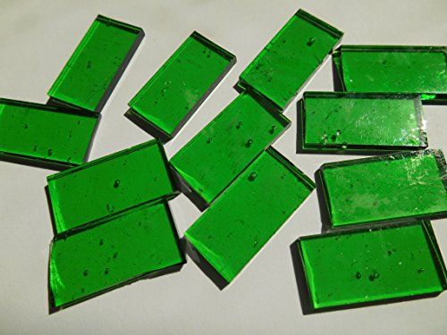 FortySevenGems 50 Pieces Green Stained Glass Mosaic Border Tiles 1/2-Inch x 1 Inch