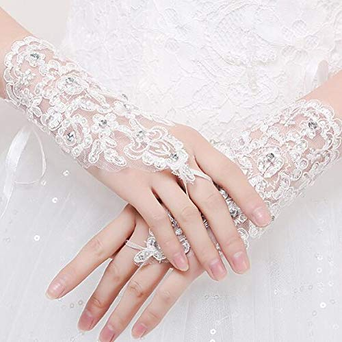 (Auch Women Lace Bridal Bride Short Gloves Wrist Wedding Party Costume Prom Lady Formal Banquet Party Bride Pierced Lace Wedding Gloves Gift)