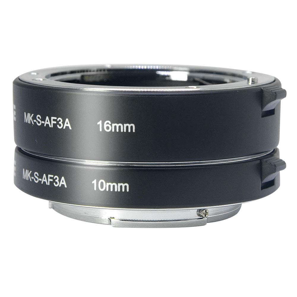 Venidice MK-S-AF3A Metal Auto Focus Macro Extension Tube Adapter Ring 10mm 16mm for Sony Mirrorless NEX E-Mount NEX 3/3N/5/5N/5R/A6000/A6300 and Full Frame A7 A7S/A7SII A7R/A7RII A7II ... by Venidice