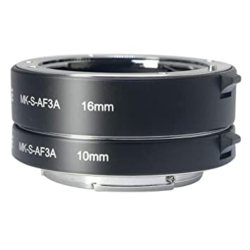 Venidice MK-S-AF3A Metal Auto Focus Macro Extension Tube Adapter Ring 10mm 16mm for Sony Mirrorless NEX E-Mount NEX 3//3N//5//5N//5R//A6000//A6300 and Full Frame A7 A7S//A7SII A7R//A7RII A7II /…