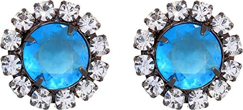 Kenneth Jay Lane Women's Gunmetal with Crystal Setting Aqua Center Button Clip Earrings Gunmetal/Aqua One Size