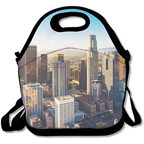 MEleonf Aerial View Of A Downtown Los Angeles At Sunset Unique Lunch Tote Lunch Bag School -
