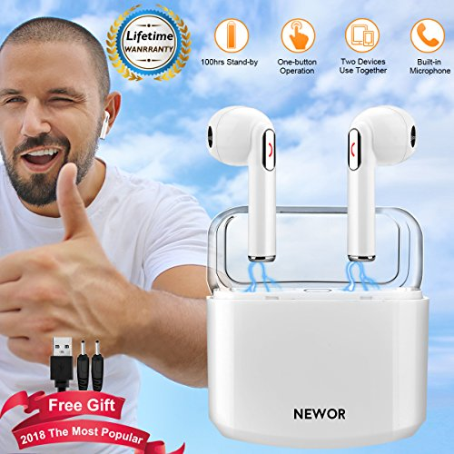 Wireless Earbuds Bluetooth Headphones Stereo Bluetooth Earbud Wireless Earphones Mini In-Ear Headphones Sweatproof Sport Earbud Noise Cancel Mic Charging Case For Iphone X 8 Plus 7 6 IOS Android (950 Mah Lithium Battery)