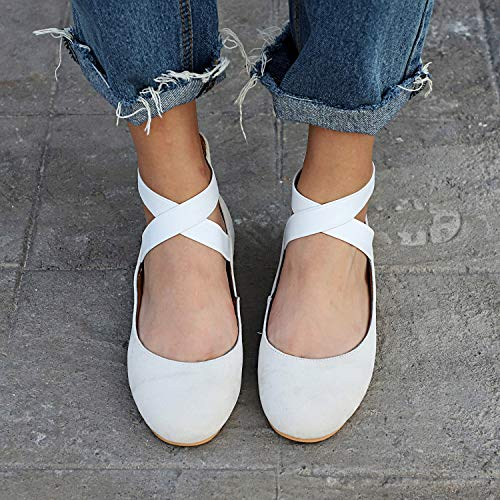 Shoes Size Closed Pumps Ballet Toe Work UK Leather 8 Flats Ballerina Beige 2 Women's HAINE Office UwPqvA