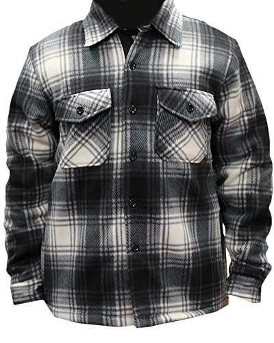 Woodland Supply Co. Men's Heavy Warm Fleece Sherpa Lined Zip Up Jacket,X-Large,Black/Grey