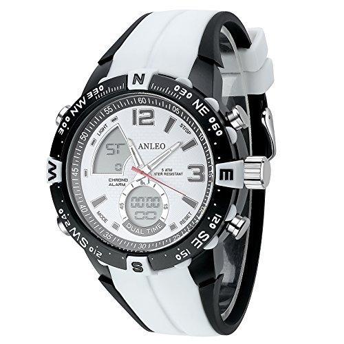 ANLEOWATCH 1PCS White Watch Outdoor Sports Watches Men Military Watches Digital Quartz Men LED Watch