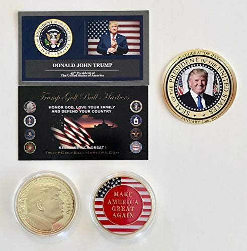 Virginia City Mint Trump Golf Ball Marker. 2020 Liberty.Flag.MAGA. 24K Gold Plated Coin