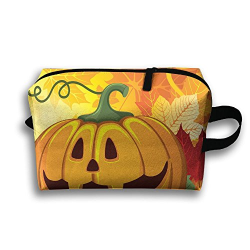 Halloween Funny Pumpkin Face Multifunction Travel Cosmetic Toiletry Bag Wristlet Holder