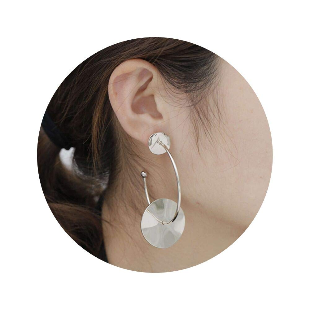 Classic Rhinestone Foreign Round Ear Style Earrings Gold//Sliver Fashion Big