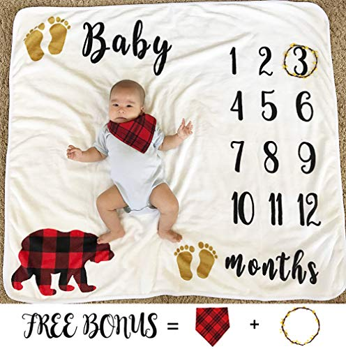 Baby Monthly Milestone Blanket for Boy Girl, Fleece Nursery Bed Swaddling Newborn Shower Gift Thick Flannel Throw, Personalized Photography Background Photo Blankets + Bib + Wreath Marker (43''x47'') by Cimkiz