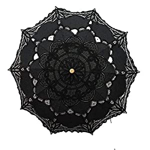 Lace Wedding Umbrella Parasol For Bride Cotton Fashion Wooden Handle Decoration Umbrella Black