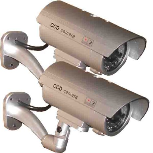 2 Pack - USAHITEC JYtrend (TM) Outdoor Dummy Fake Security Camera with Inflared LEDs Blinking Light, Silver