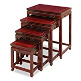 Hand Crafted Rosewood Ming Nesting Tables - Dark Cherry