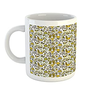 Kitchen Mug by Lunarable, Olives Oil Bottles Organic Food and Plant Branches Hand Drawn Doodle, Printed Ceramic Coffee Mug Water Tea Drinks Cup, Yellow Navy Blue Green